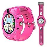 Markrom V19 - Smart watch per bambini con SIM GSM TF, player musica, cinturino in silicone, touchscreen da 1,3', contapassi, timer, sveglia, monitor salute, fotocamera