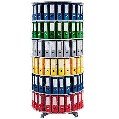 Ordner-Drehsäule mit 6 Etagen, für bis 180 breite DIN-Ordner, Böden hellgrau, Höhe 2280 mm, Ø 1000 mm
