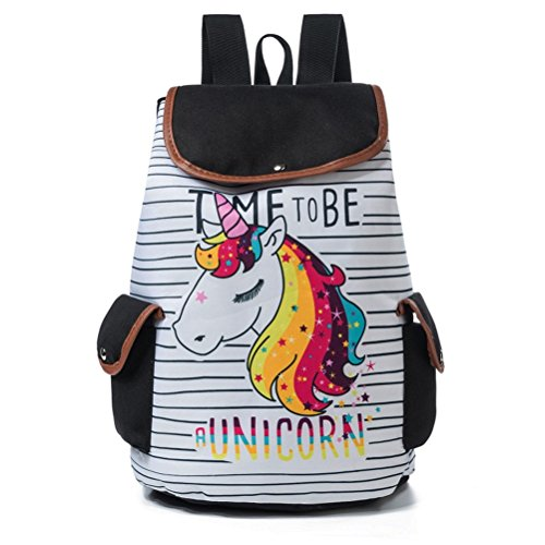 Winnerbag colorato cartoon unicorn zaino stampa donne design drawstring travel zaini striped canvas zaino scuola per adolescenti
