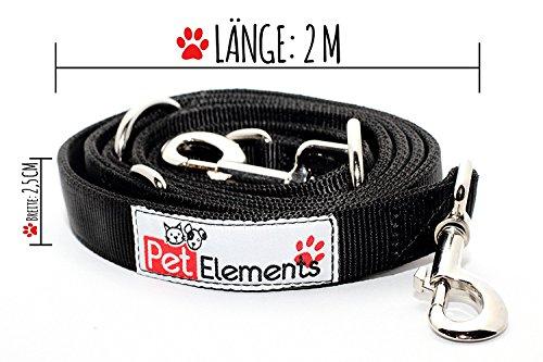 Hundeleine PetElements   inklusive Gratis Leckerlibeutel   Profi Doppelleine & Umhängeleine (2,5 cm breit)   längenverstellbare Hundeführleine & Übungsleine (1m - 2m)   Perfekt für Hundetraining   beißfestes Nylon