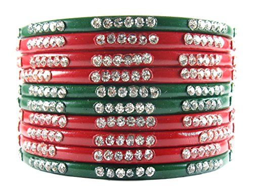 Sukriti Rajasthani Bridal Red Green Chura Bangles for Women - Set of 10  available at amazon for Rs.345