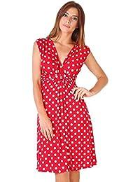 KRISP® Femmes Robes Portefeuille Midi Col V Différents Imprimés Disponibles