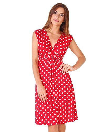 KRISP Damen 6147 Kleid, Rot/Weiß 34, 44 (Herstellergröße: 16) (Plus Größe Rot Kleider)
