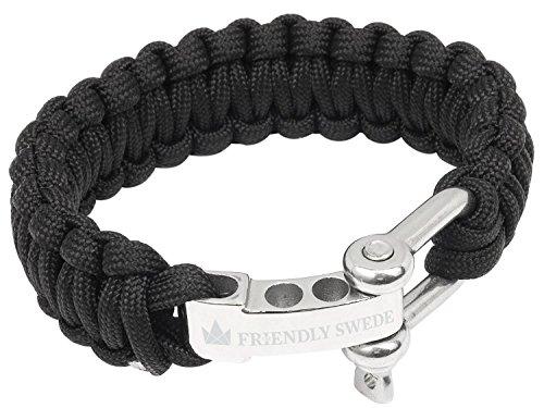 The Friendly Swede Paracord Survival-Armband mit Edelstahlverschluss - ideales Extra für Ihre Überlebensausrüstung