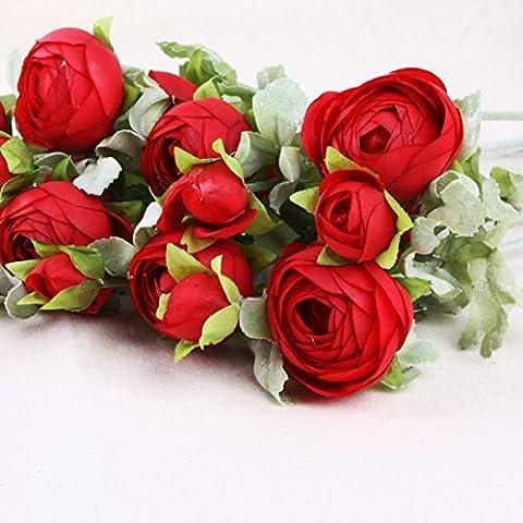 10pcs Bellezza Fiore Artificiale Wedding Bouquet DIY Cute Pretty loto rosa seta fiori bianco Red