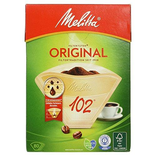 Melitta Filtertüten 102, 3 Aromazonen, Naturbraun, 80 Stück (Melitta 3 Kaffeefilter)