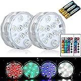 COOLWEST RGB LED Stimmungslichter, IP68 Wasserdicht Beleuchtung für Haustiere, Aquarium, Weihnachten, Halloween, Badewanne, Schwimmbad, 2 Stück mit Fernbedienung - Inkl. 3AAA Batterien