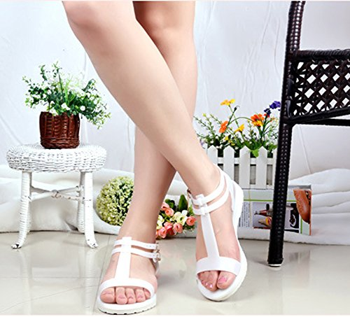 Minetom Donna Estate Moda Plastica Gelatina Fibbia Sandali Con Cinghia Scarpe Peep Toe Shoes Spiaggia Sandali Bianco