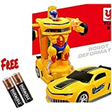 Quick Dolls Battery Operated Robot Deform Robot To Car Converting Transformer Toy For Kids