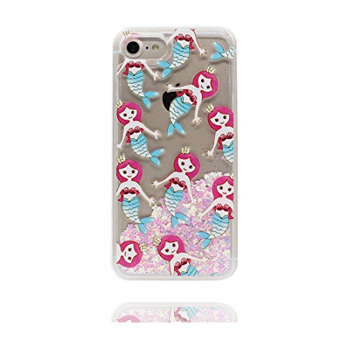 "iPhone 7 Coque, Princesse sirène Skin Hard Clear étui iPhone 7, Design Glitter Bling Sparkles Shinny Flowing Apple iPhone 7 Case Cover 4.7"", résistant aux chocs & stylet Princesse sirène"