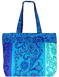 Multipropósito azul con multicolor Bolsa de compras - la bolsa de asas de algodón con cierre de cremallera y dos asas