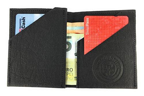 BUORSA - Mini Geldbeutel klein dünn mit Münzfach aus robustem Waschbarem Papier / Veganes Leder in verschiedenen Farben, für Damen und Herren von bun-di Swiss® (BLACK) - 2