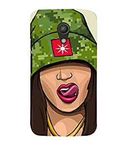 Girl with Cap and Tongue piercing 3D Hard Polycarbonate Designer Back Case Cover for Motorola Moto G2 :: Motorola Moto G (2nd Gen) :: Motorola Moto G XT1068 :: Motorola Moto G (2nd Gen) :: Motorola Moto G Dual SIM (2nd Gen) :: Motorola Moto G Dual SIM 2014