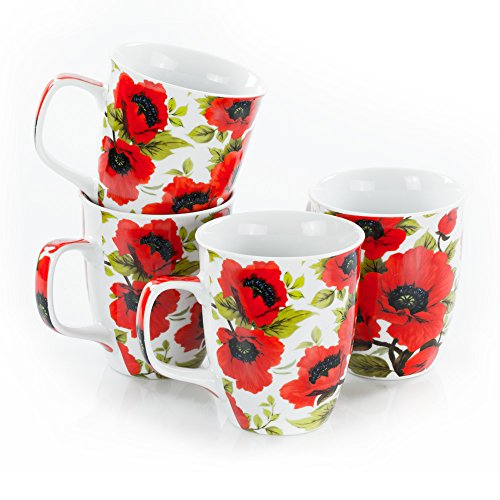 Tassen-Set - Mohnblumen, 4 Stück, 400 ml Porzellan Kaffeebecher