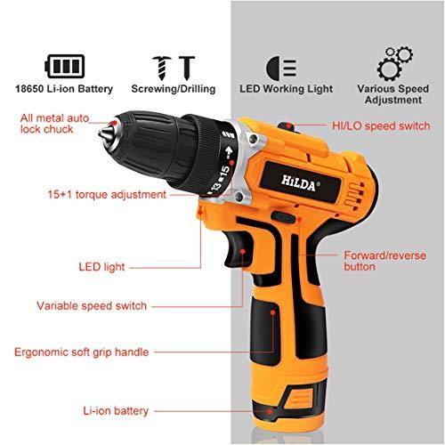 Taladro eléctrico de 12V / 16.8V / 21V con batería de litio recargable Destornillador eléctrico Destornillador...