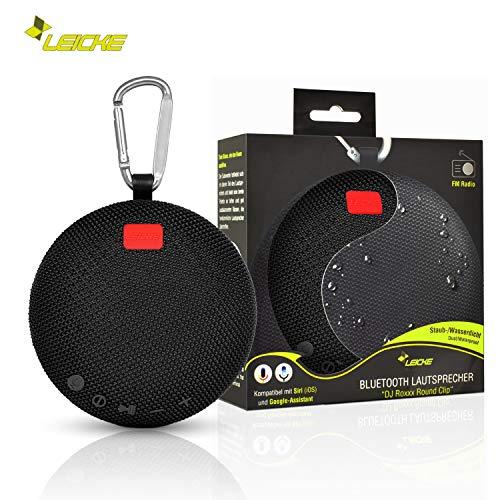 Leicke Bluetooth Lautsprecher DJ Roxxx Round Clip   MP3 Player, Aux-Eingang, Freisprecheinrichtung, Staub-/Wasserdichte, Tragbar, Kompatibel mit Siri (iOS) und Google-Assistant   6h Spielzeit - Dj-mp3-player