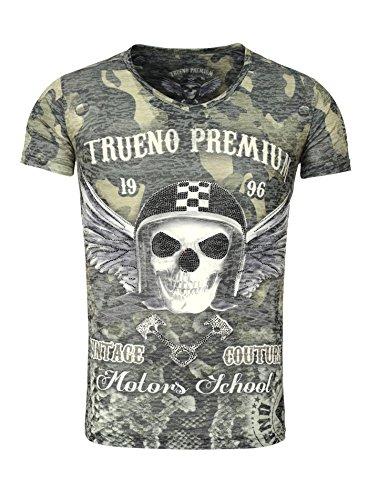 Trueno Premium Herren T-Shirt AVILA Totenkopf Skull Flügel Wings Dog Tag Vintage Camouflage Look grün S (Dog Militär T-shirt)