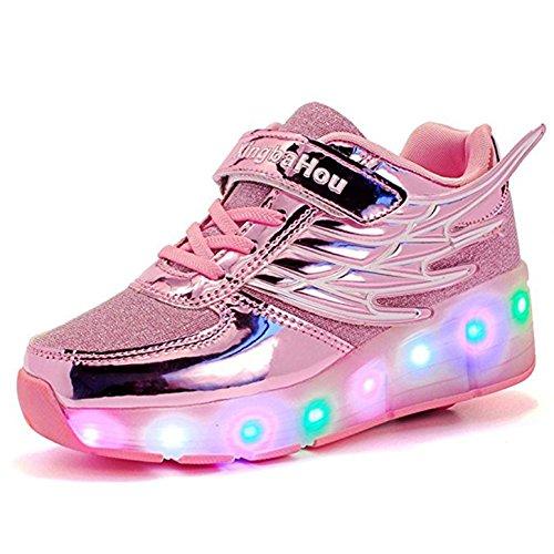 ZXSFC Kinder Schuhe mit Rollen Mesh Skateboardschuhe LED Schuhe Rollschuhe Outdoor Fitnessschuhe Gymnastik Sneaker Turnschuhe Sportschuhe Laufschuhe für Junge Mädchen Rosa 32