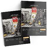 ARTEZA Album Disegno Pittura Tecniche Miste A3 (29,7x 42 cm) 60 Fogli Sketchbook, Perfetto per Acquerello, Acrilici, Schizzi, Journal e tanto altro