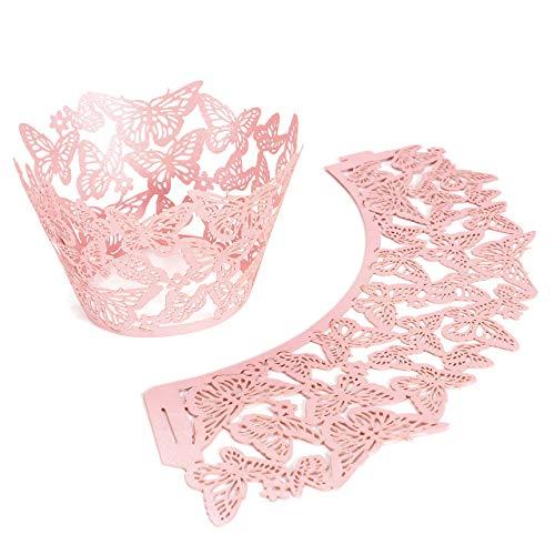 cake Wrappers Hohl Cupcakeförmchen Kuchen Pappbecher Verpackungen Kuchenverpackung für Hochzeit Geburtstag feiern Baby Dusche Dekoration (Rosa Schmetterling) ()