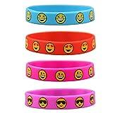knowing 12 Stück Kinder Silikon Armbänder,Emoji Silikon Armbände, Für Kinder Party Supplies, Neuheit Emoji Tütenfüller Kindergeburtstag Mitgebsel,4 Farbe Vergleich