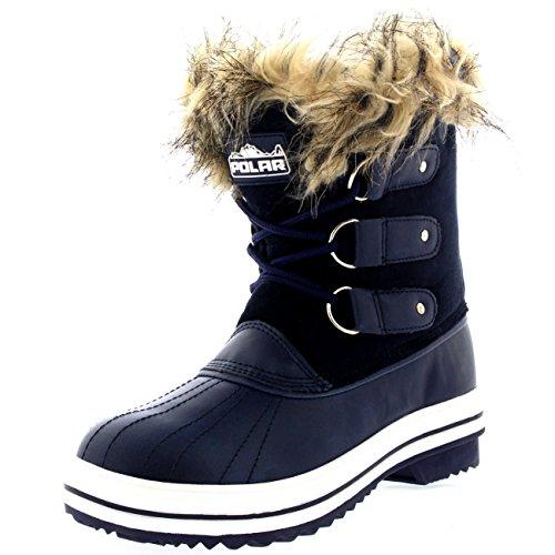 Damen Pelz Cuff Schnüren Gummisohle Short Winter Schnee Regen Schuh Stiefel Marine Wildleder