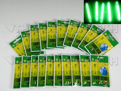 Knicklichter, für Angler, 4,5 x 37 mm, grün fluoreszierend, 50 Stück (10 Beutel)