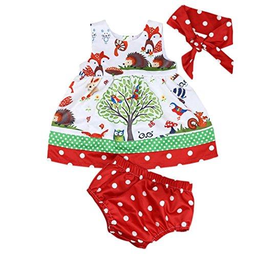 URSING Baby O-Hals schön Drucken Säugling Mädchen Wald Prinzessin Ärmellos Knie-Länge Kleid Kurze Hose Hose Stirnband Kleider Set 6 Monate - 3 Jahre alt (Rot, 12M) (Rollkragenpullover Pulli Mädchen)