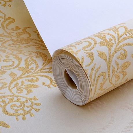 Papier peint peinture murale Non-tissé wallpaper fond d'écran 3D flocage doré chambre salon TV fond mur papier peint , 8782 meters white