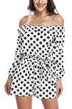 MISS MOLY Salopette e pagliaccetti per le donne Playsuit Macchie lunghe alla spalla bianche e nere Elegante cintura in vita - XS