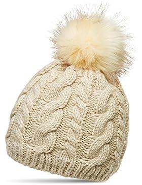 CASPAR MU176 Damen Winter Mütze Strickmütze Bommelmütze mit großem Fellbommel