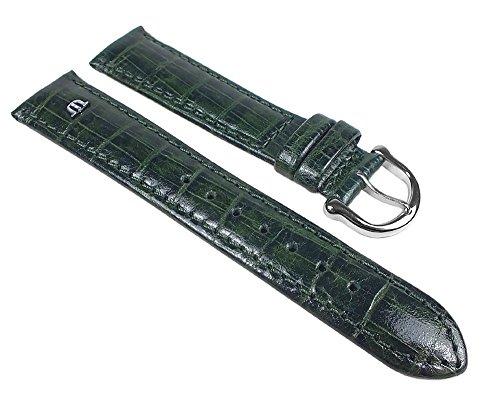 Maurice Lacroix Ersatzband Uhrenarmband Kalbsleder Kroko-Optik Tannengrün 19443S, Stegbreite:18mm