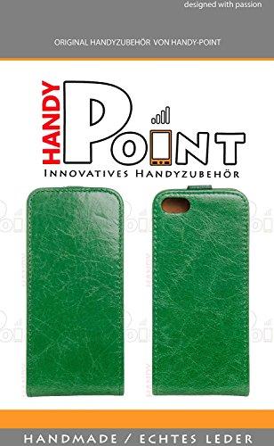 handy-point Toscana Leder Klapptasche für Apple iPhone 4 blau Grün