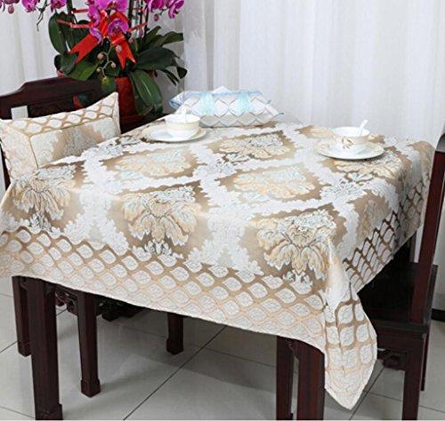 nappe de table Européenne de luxe épaisse table tissu nappe table à thé tissu rond nappe Jacquard 90 * 90 cm-150 * 220 cm Tapis de table (Couleur : A2, taille : 150 * 220cm)