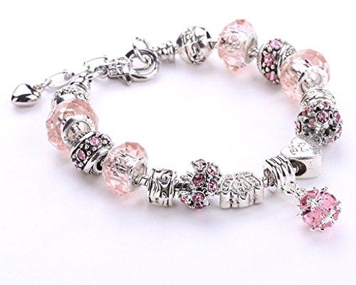 Minetom Donne Ragazze Gioielli Bracciali Moda Diy Strass Bicchiere & Cristallo Perline Metallo Catena Rosa