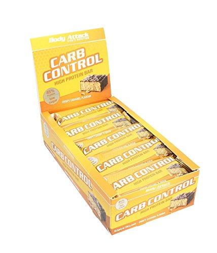 Body Attack Carb Control Protein Riegel 8x 100g, Crispy Caramel, 8x100g (Control Carb)