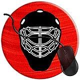 Maschera per portiere di hockey su ghiaccio Tappetino per mouse da gioco Base in gomma antiscivolo Comfort Tappetino per mouse Tappetini per cucire durevoli Gioco rotondo (20 * 20 cm)