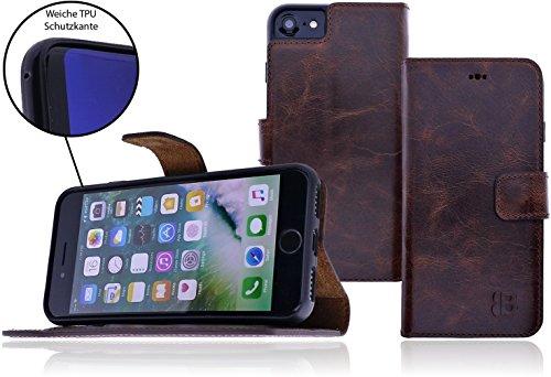 Apple iPhone 6 / 6S Handyhülle 2-in-1 Premium Leder Tasche Hülle Book Cover | herausnehmbare Schutzhülle | bruchfeste Innenschale | Standfunktion | Kartenfach im Vintage / Retro Look (Cognac Braun) Sattel Braun