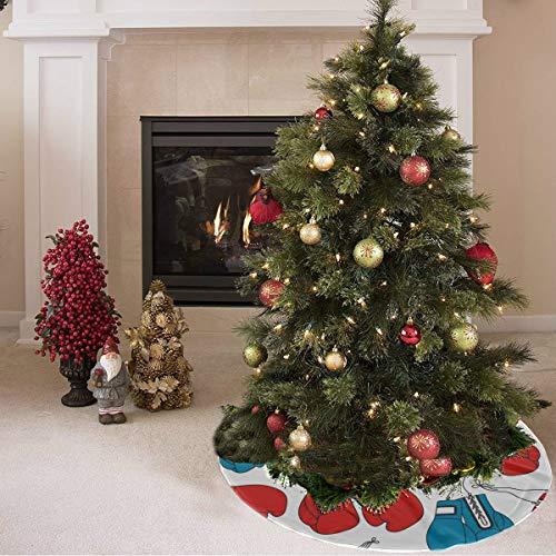 ZHANGhome Weihnachtsbaum Rock süß farbige kreative Boxhandschuhe drucken Markenzeichen Baum Rock Polyester Herbst Baum Rock Teppich für Party Urlaub Dekorationen Weihnachten Ornamente