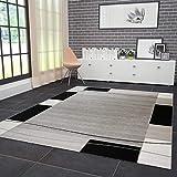 Teppich Kariert Retro Muster Meliert in Grau Weiß Schwarz Schlafzimmer Wohnzimmer 120x170 cm