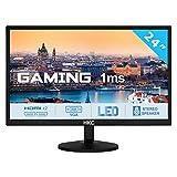 HKC 24P6 24 Zoll (60 cm) LED Gaming Monitor, FHD (1920x1080), 1 ms Reaktionszeit, 2X HDMI, 1xVGA, Lautsprecher - Schwarz