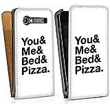 Samsung Galaxy S Advance i9070 Sacoche Housse de Protection Walletcase Bookstyle Phrases Amour Lit Pizza Toi et Moi