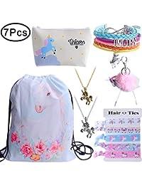 Standie Cordon Sac à Dos pour Licorne Cadeau de Noël pour Les Filles comprennent Maquillage Sac Bracelet Collier Cravates pour Licorne Party Favors Pack de 7