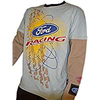 OMSE T-Shirt à Manches Longues pour Homme Ford Fiesta Extreme Rally Cross  Bleu Gris 29a9c88d630e