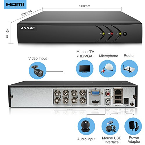 ANNKE CCTV Camera Systems Smart HD 1080P Lite 8+2 Channels DVR Recorder w/ 4x 720P HD Outdoor Bullet Camera, All-weather Adaptation, Email Alert with Images, Support AHD/ TVI/ CVI/ Analog/ IP Camera, NO HDD