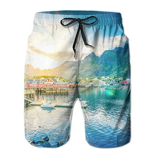 khgkhgfkgfk Norway Lake Mountains House Casual Classic Men's Shorts Beach Sport Print Shorts Pants Hot Swimming Trousers Board Shorts with Pockets X-Large