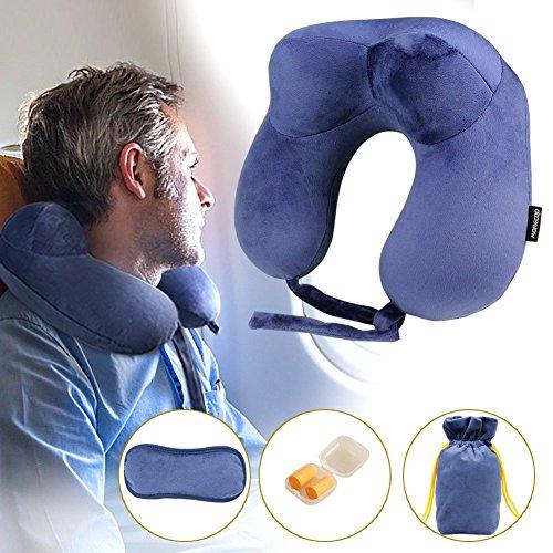 Nackenkissen aufblasbare, Morecoo aufblasbares Reisekissen, bequem und komfortabel, leicht und tragbar, Nackenkissen für bequemen Schlaf im Flugzeug, Auto oder Zug. (Dunkelblau 01)