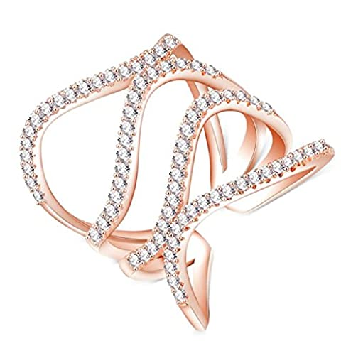 AMDXD Jewelry Gold Plated Engagement Rings for Women Hollow Irregular Rose Gold Size T 1/2