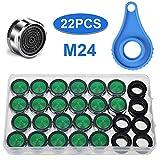 Rovtop 22 Stück M24 Perlatoren für Wasserhähne + Perlator Schlüssel, Standardgröße Wasserhahn Aufsatz, Wasserhahn Sieb/Düse/Strahlregler, Mischdüse, Luftsprudler mit ABS Filter