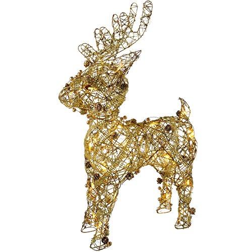 WeRChristmas Rattan Warm LED Rentier mit Gold Perlen und Tannenzapfen, 70cm–weiß